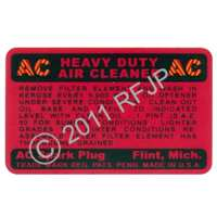 MB GPW, MB GPW PartsAir cleaner decal AC  -decal-AC,MB,GPW,decal-AC Jeep G503 RFJP VintageJeeps